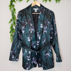 H&M Dark Green Floral Satin Blazer
